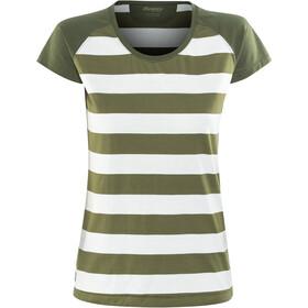 Bergans Filtvet Tee Women White/Khaki Green Striped/Seaweed
